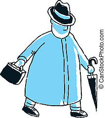 Blue Overcoat - A cartoon businessman walking along in a...