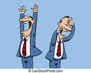 Businessman Victory and Defeat - A cartoon businessman with...