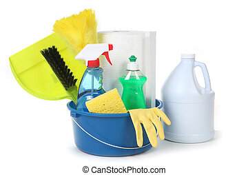 Cleaning Supplies for the Household on White Background