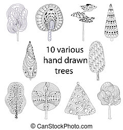 Hand drawn trees isolated, sketch, doodle style trees set