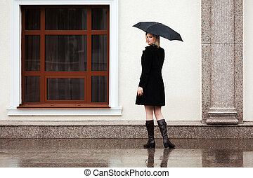 Happy woman with umbrella in the rain