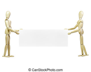 Wood Puppets Holding Sign - Two wood puppets holding sign...