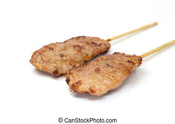 grill porks - grill pork skewers on white background