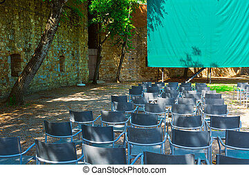 Lecture Hall with Green Screen and Chairs