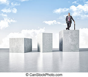 solid business - 3d image of huge concrete block and smiling...