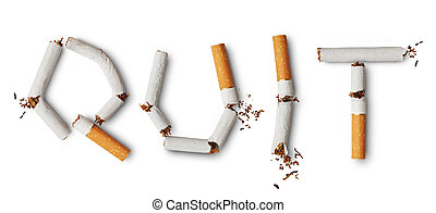 Quit smoking - Word Quilt made from broken cigarettes
