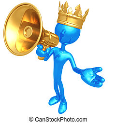 King With Megaphone - 3D Concept And Presentation Figure