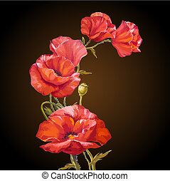Oil painting Card with poppies flowers