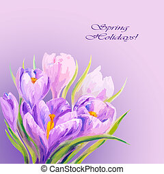 8 March. Crocuses. Spring flowers invitation template card