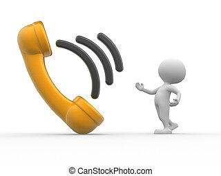 Telephone handset - 3d people - man, person with telephone...