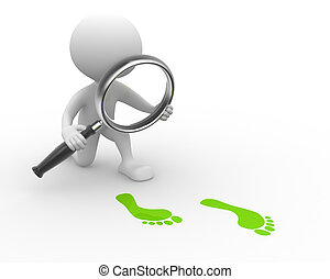 Magnifying glass - 3d people - man, person with magnifying...