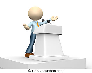 Businessman - 3d people - man, person speaking from a...