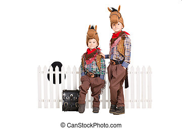 Two boys in carnival costumes