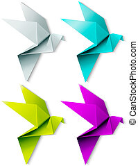 Set of colorful origami bird EPS 10 - Set of colorful...