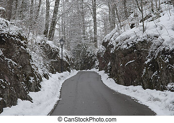 snow road in Fussen,Germany