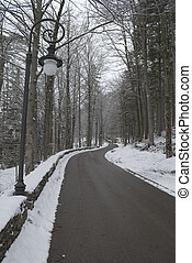 snow road in Fussen, Germany