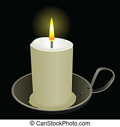 Burning candle in an old bowl Vector illustration
