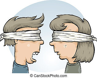 Blindfolded Couple - A cartoon couple, blindfolded together.