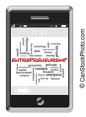 Entrepreneurship Word Cloud Concept on Touchscreen Phone -...