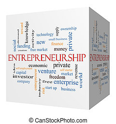 Entrepreneurship 3D cube Word Cloud Concept with great terms...