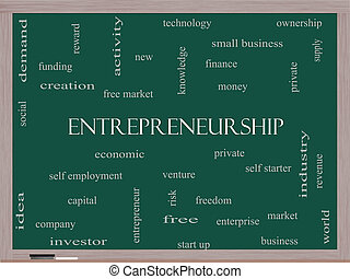 Entrepreneurship Word Cloud Concept on a Blackboard with...