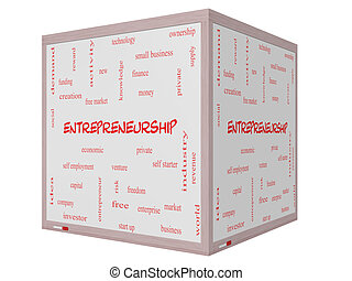 Entrepreneurship Word Cloud Concept on a 3D cube Whiteboard...