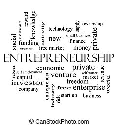 Entrepreneurship Word Cloud Concept in black and white with...