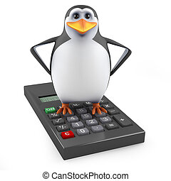 3d Penguin rides a calculater - 3d render of a penguin stood...