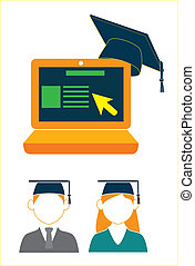 e-learning - e learning education over white background...