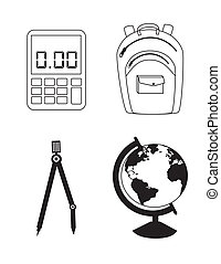 school supplies over white background vector illustration