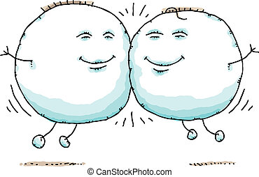Puffy Blob Bouncing - Two cartoon, puffy blobs bounce...