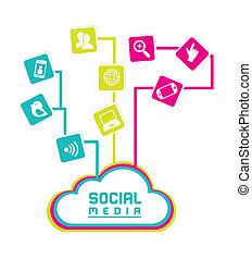 social media flat design over white background vector...