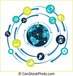 Global network flat design over white background vector...
