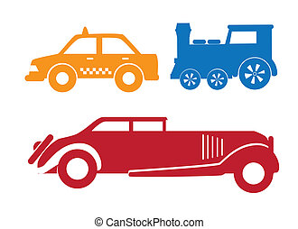 Vehicles over a white background vector illustration