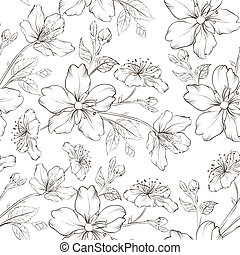 Cherry blossom seamless pattern.  illustration.