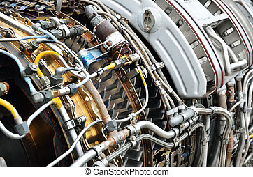 Inside of the jet turbine engine - Turbine of military...