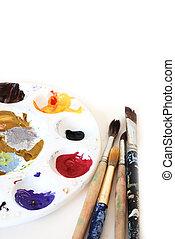 Painter\'s, palette, brushes