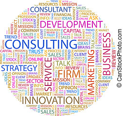 CONSULTING Word cloud illustration Tag cloud concept collage...