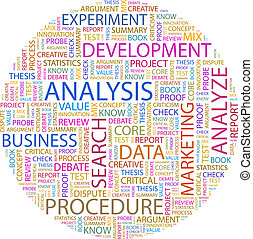 ANALYSIS Word cloud illustration Tag cloud concept collage...