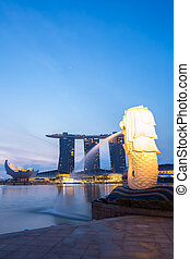 Singapore Merlion sunrise - Closeup of Singapore Merlion at...