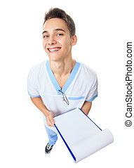 Laughing young doctor with clipboard - Wide angle top view...