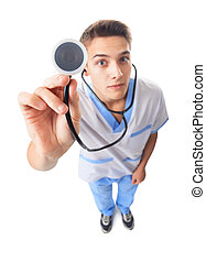Young doctor with stethoscope - Wide angle top view of...