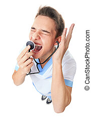 Doctor shouting into stethoscop - Wide angle top view of...