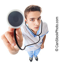 Young doctor with stethoscope - Wide angle top view of young...