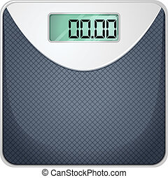 A bathroom scale - Illustration of a bathroom scale on a...