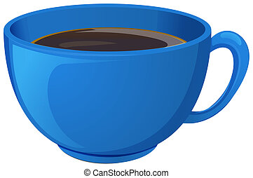 A blue cup with coffee - Illustration of a blue cup with...