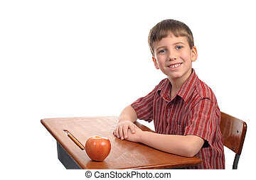 Gift for teacher - A school boy with an apple to give to his...