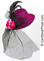 Vintage ladys hat with a black veil isolated - Bright pink...