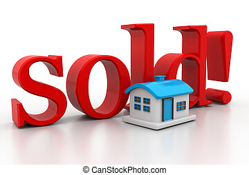 3d house with text sold isolated over white background