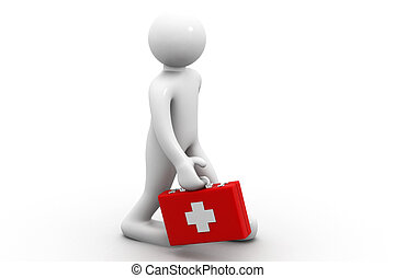 3d man with of a first aid box
